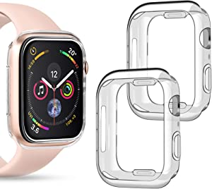 Goton Compatible iWatch Apple Watch Case 44mm SE/Series 6 / Series 5 / Series 4, (2 Packs) Soft TPU Shockproof Case Cover Bumper Protector (Clear and Clear, 44mm)