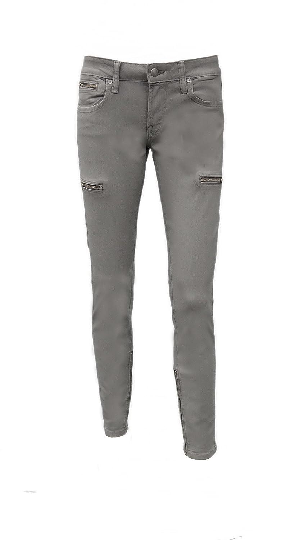 WORK CUSTOM JEANS Leggera Womens Zip Coated Skinny Leg Jean Grey 160747 TAG