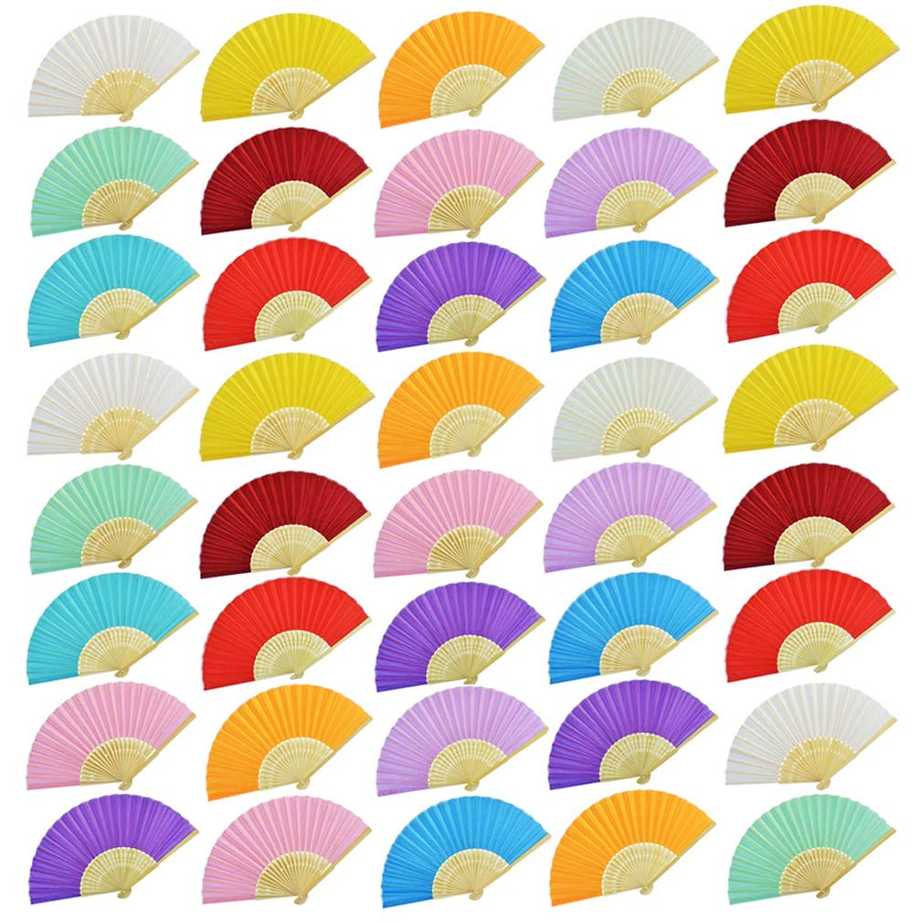 Bantoye 48 Pieces Silk Folding Fans, Handheld Fans with Bamboo Frames for Dancing Cosplay Wedding Party Props Decoration, 12 Assorted Colors by Bantoye