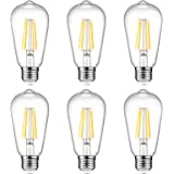 Ascher Vintage LED Edison Bulbs, 6W, Equivalent 60W, High Brightness, Warm White 2700K, ST58 Antique LED Filament Bulbs, E26