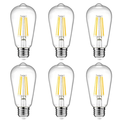 b78c537c8 Ascher Vintage LED Edison Bulbs, 6W, Equivalent 60W, High Brightness, Warm  White 2700K, ST58 Antique LED Filament Bulbs, E26 Medium Base, Non ...