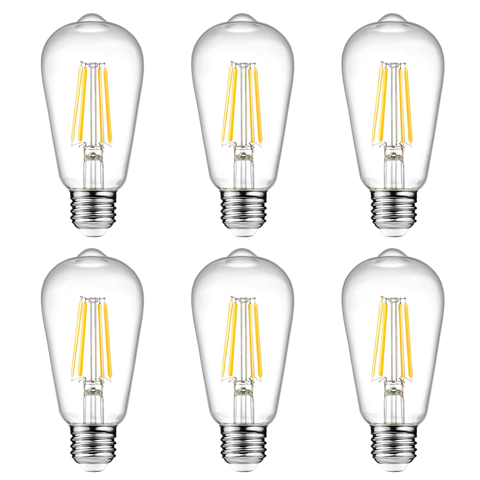 Ascher Vintage LED Edison Bulbs, 6W, Equivalent 60W, 800lm, Warm White 2700K, ST58 Antique LED Filament Bulbs, E26 Medium Base, Non Dimmable, Clear Glass, Pack of 6