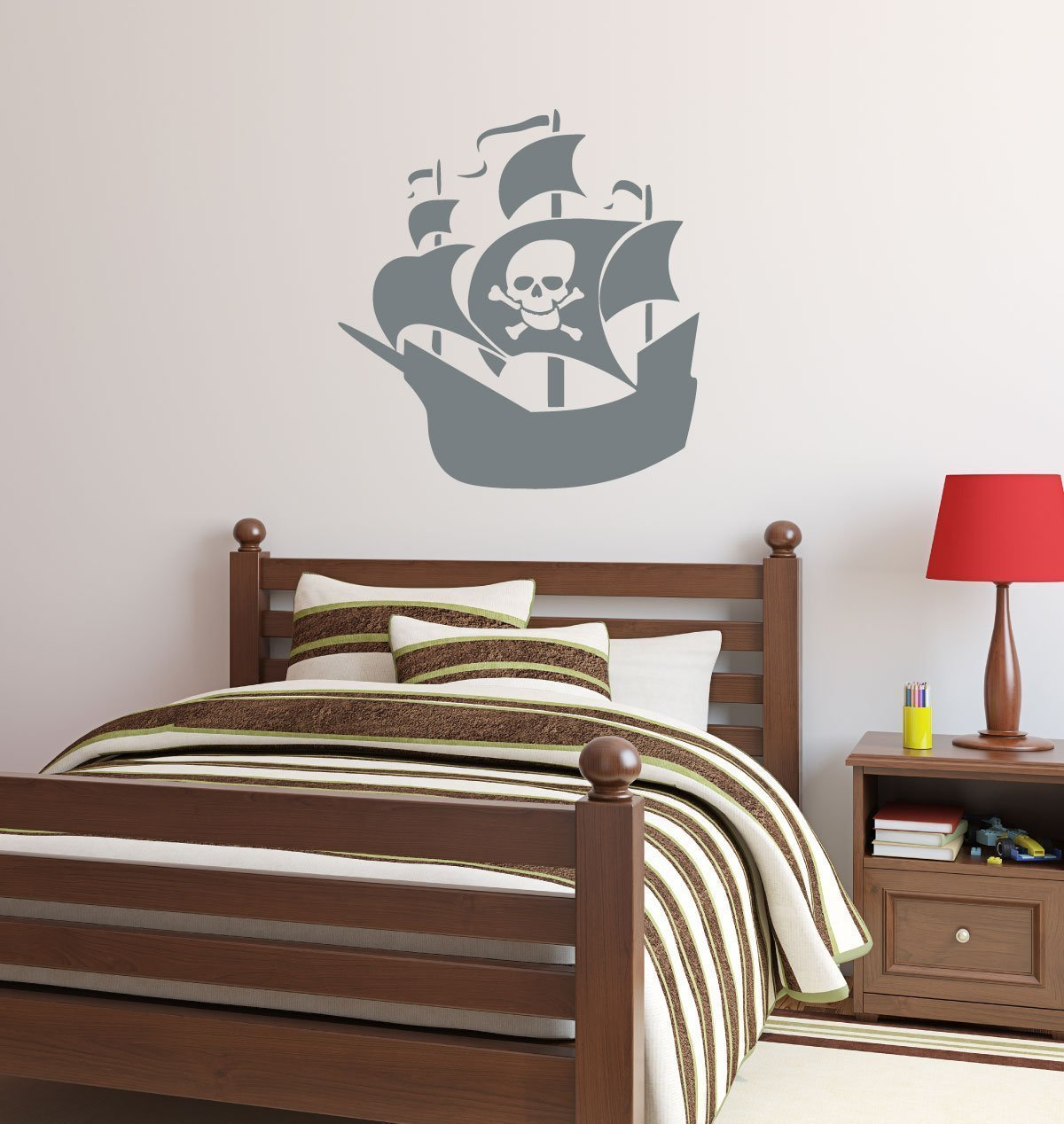 Pirate ship Personalized Name vinyl wall decal art sticker boys room decor