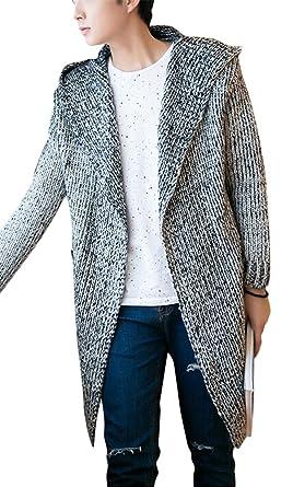 Ghope Herren Strickjacke Long Hooded Open Edge Cardigan Sweatjacke Kapuze  Mantel lang, Grau, EU 525aed3549