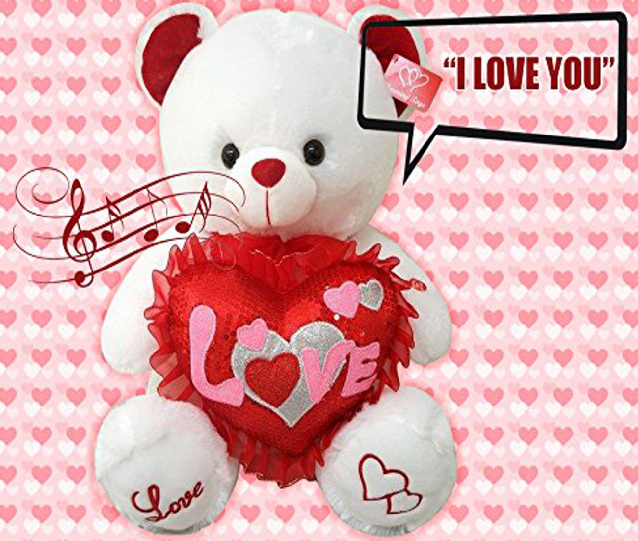 Amazon.com: Best Valentines Teddy Bear Gift Musical I Love You 13 Inches  Tall You Hear Kissing Sound U0026 Then Bear Says I Love You When Paw Is Pressed  ...
