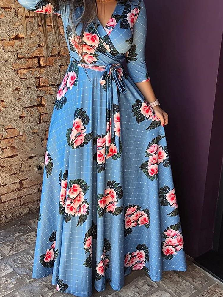 CHICME Women Floral Grid Pattern Belted Wrap Maxi Dress