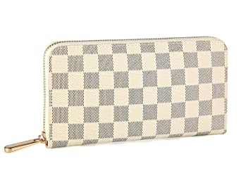 Miracle Checkered Zip Around Wallet | Rfid Blocking | Phone Clutch/Card Holder/Organizer For Men Women | Pu Vegan Leather by Jima