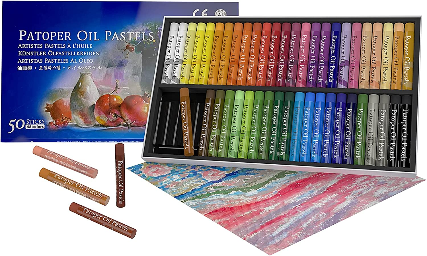 Soft Oil Pastels Set, Artist Drawing Pastel Painting Art Crayons Sticks Round Crayons Sticks Non Toxic Art Supplies for Kid Adults Student Beginner Colouring 50 Colors : Office Products
