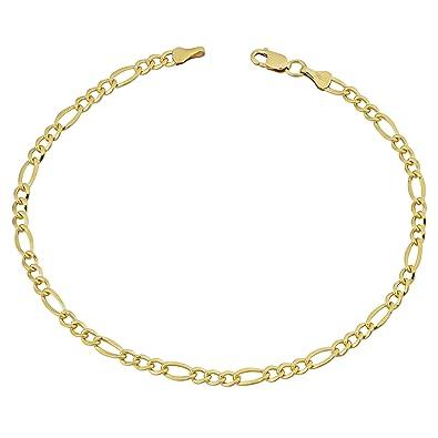 addc85a96 Amazon.com: Kooljewelry 14k Yellow Gold Filled Solid Figaro Link Bracelet  (3.2 mm, 8.5 inch): Jewelry