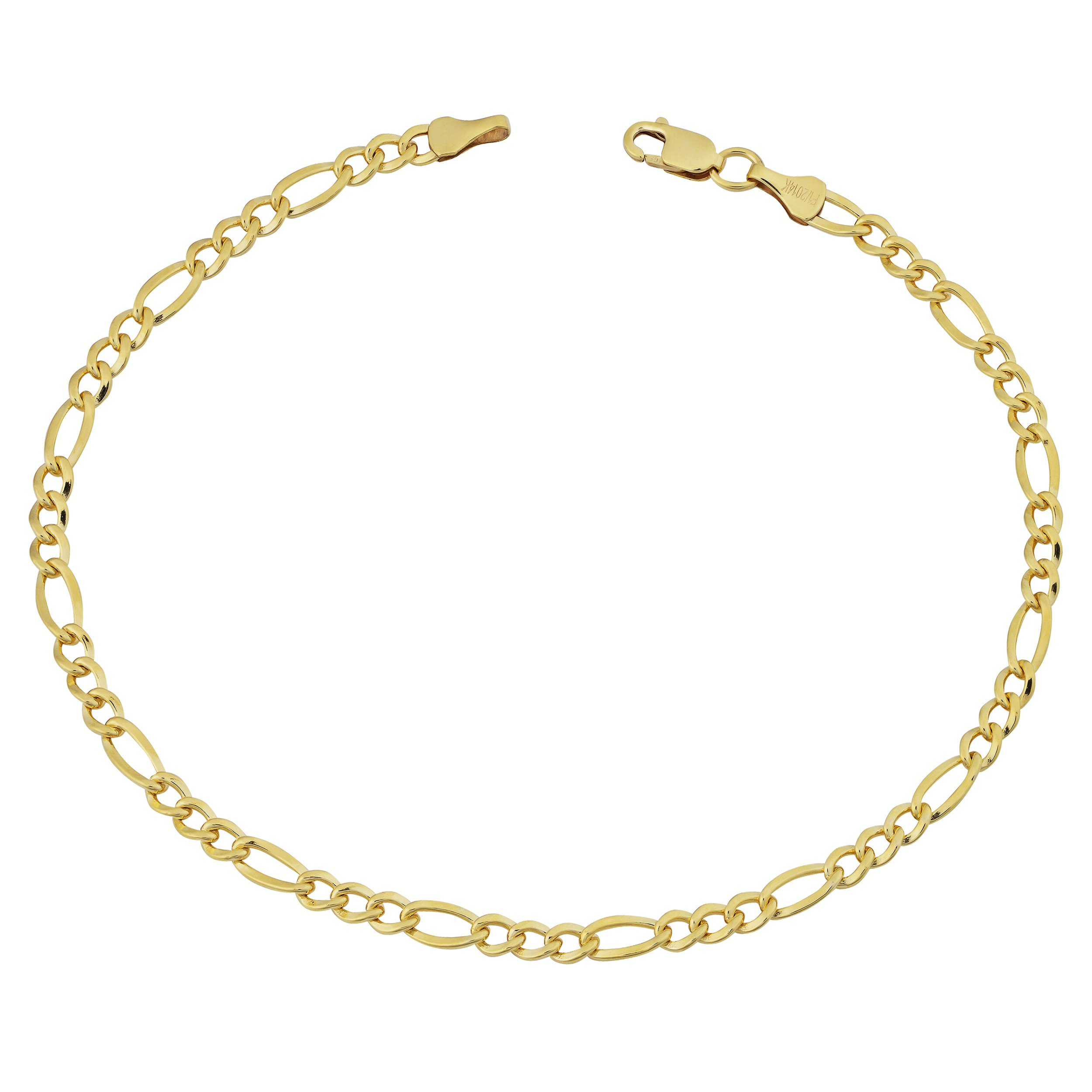 14k Yellow Gold Filled Solid 3.2mm Figaro Link Bracelet (8.5 inch)