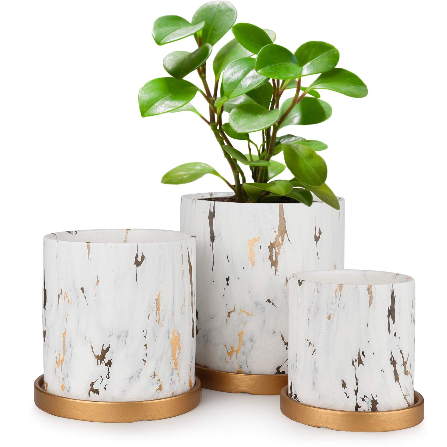 White Ceramic Flower Pot 6.9/5.5/4.3 Inch Garden Planters Set of 3, Indoor Outdoor with Drainage Hole and Plant Containers Tray with Gold and Marble Texture Detailing by HOMENOTE
