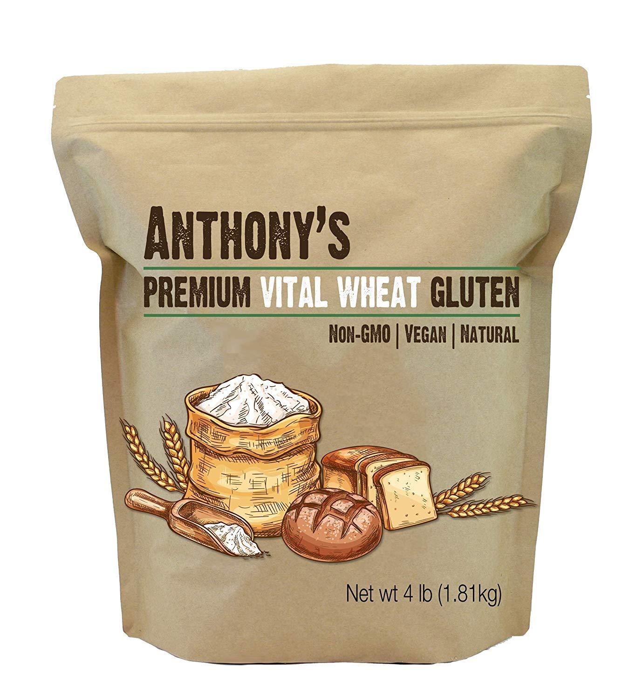 Anthony's Vital Wheat Gluten Natural, 4lbs, High in Protein, Vegan, Non GMO, Keto Friendly