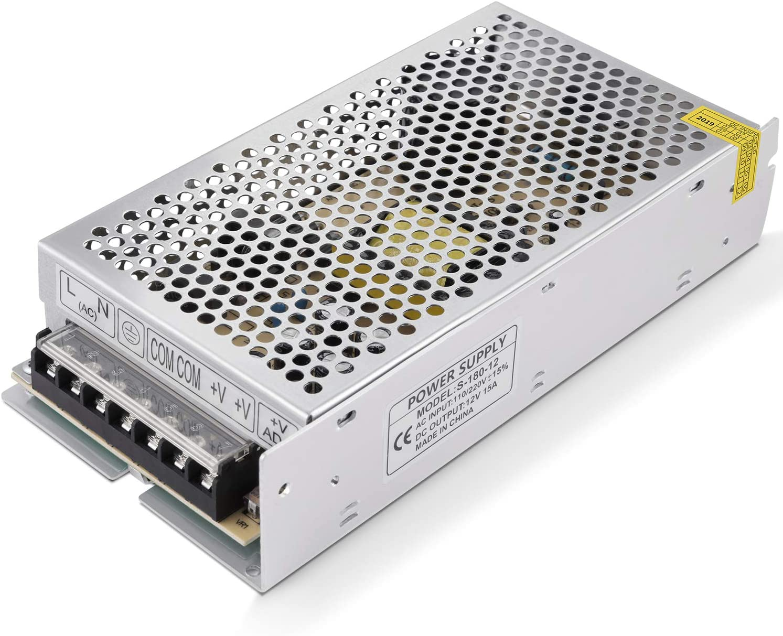 GHB 12V 15A 180W Transformador de Potencia, Transformador de Voltaje, Fuente de Alimentación para la Tira de LED