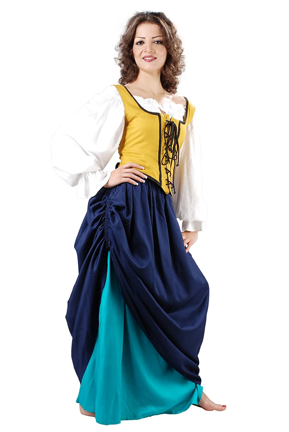 Women's Double-Layer Navy Blue and Petrol Blue Medieval Renaissance Skirt by Armor Venue