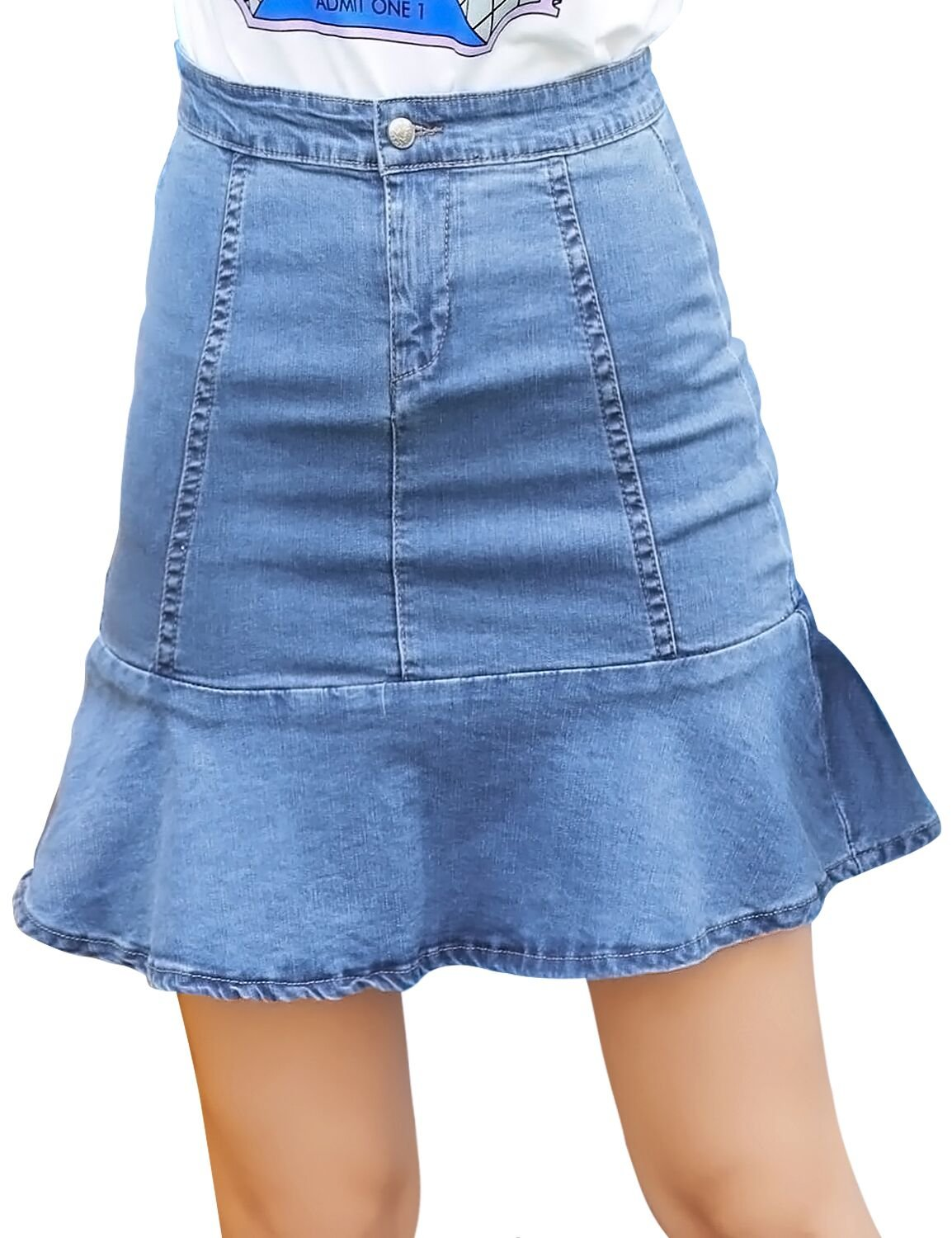MG & Fashion Women Casual Modern Button Front Flared Stretchy Denim Short Skirt (L)