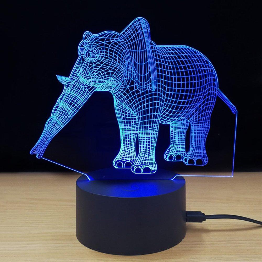 TTJIANXI Tischleuchte 3D Kreativität Leuchtende Elefant LED ...