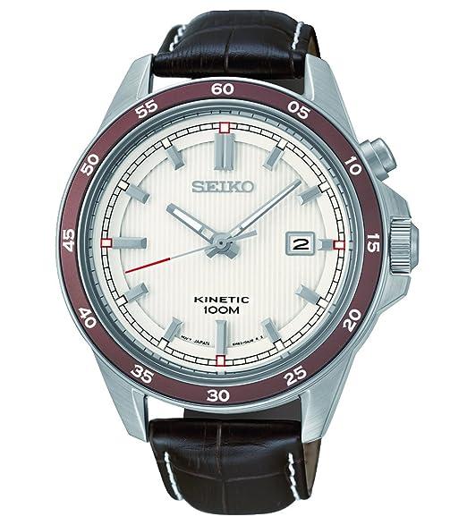 Seiko Kinetic - Reloj automático para hombre, correa de cuero color marrón: Amazon.es: Relojes