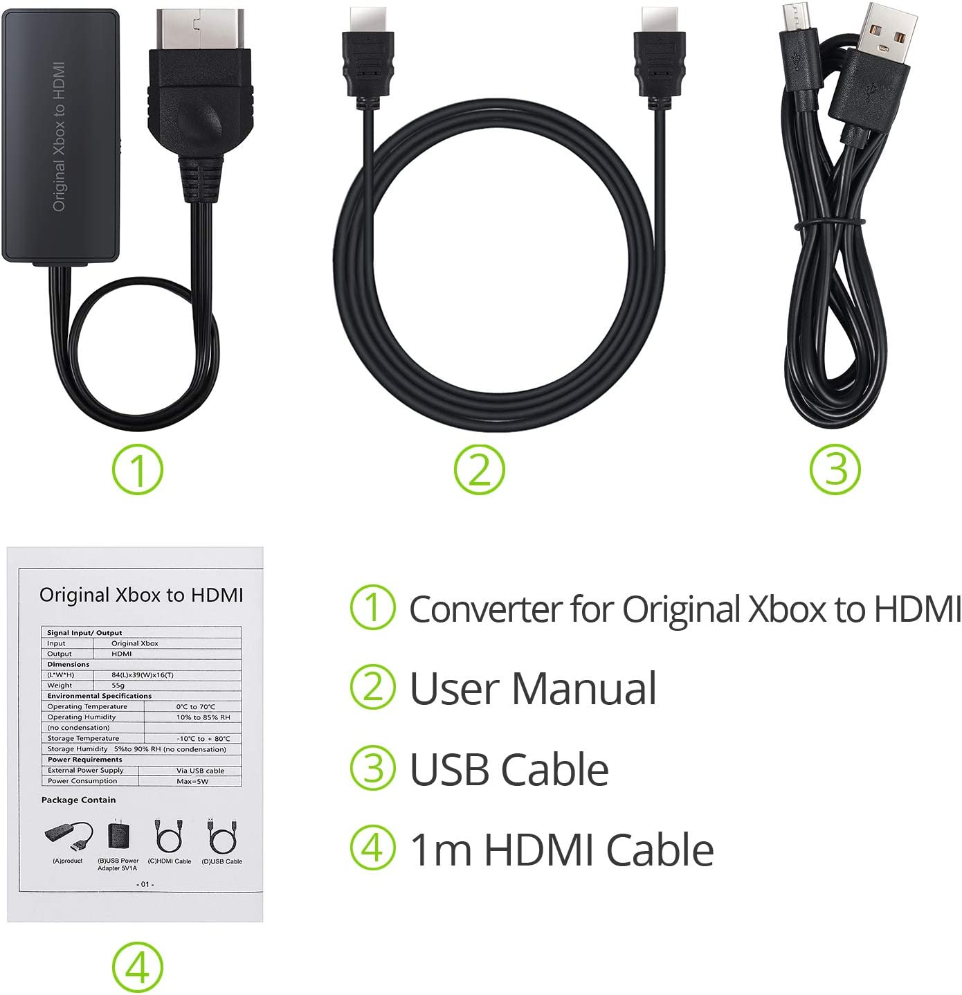 HD Link Cable for Original Xbox Support 1080P//720P with USB Cable HDMI Cable CAMWAY Converter Adapter for Original Xbox to HDMI