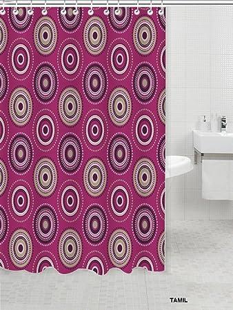 Fancy Dot Swirl Bright Fabric Shower Curtain 100% Polyester  (70u0026quot;xu0026quot;72
