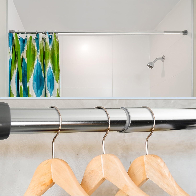 Tringle Rideau sans percage /& sans vis Penderie Chrome Barre de Douche Extensible Fixation par Pression Cuisine Salon 55 /à 90 cm casa pura Tringle a Rideaux