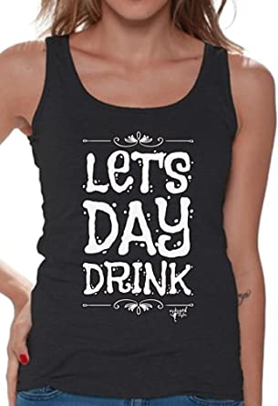 7eea88d3748818 Awkwardstyles Women s Lets Day Drink Tank Top E50 Drunk Party Tank +  Bookmark S Black