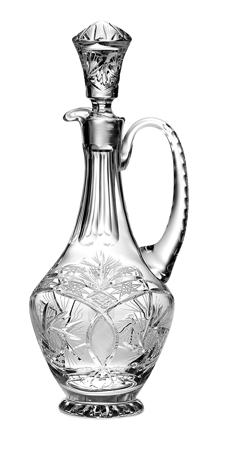 Barski - Hand Cut - Mouth Blown - Crystal - Oversized Decanter - with Handle - Pinwheel Design - 46 oz. - Made in Europe