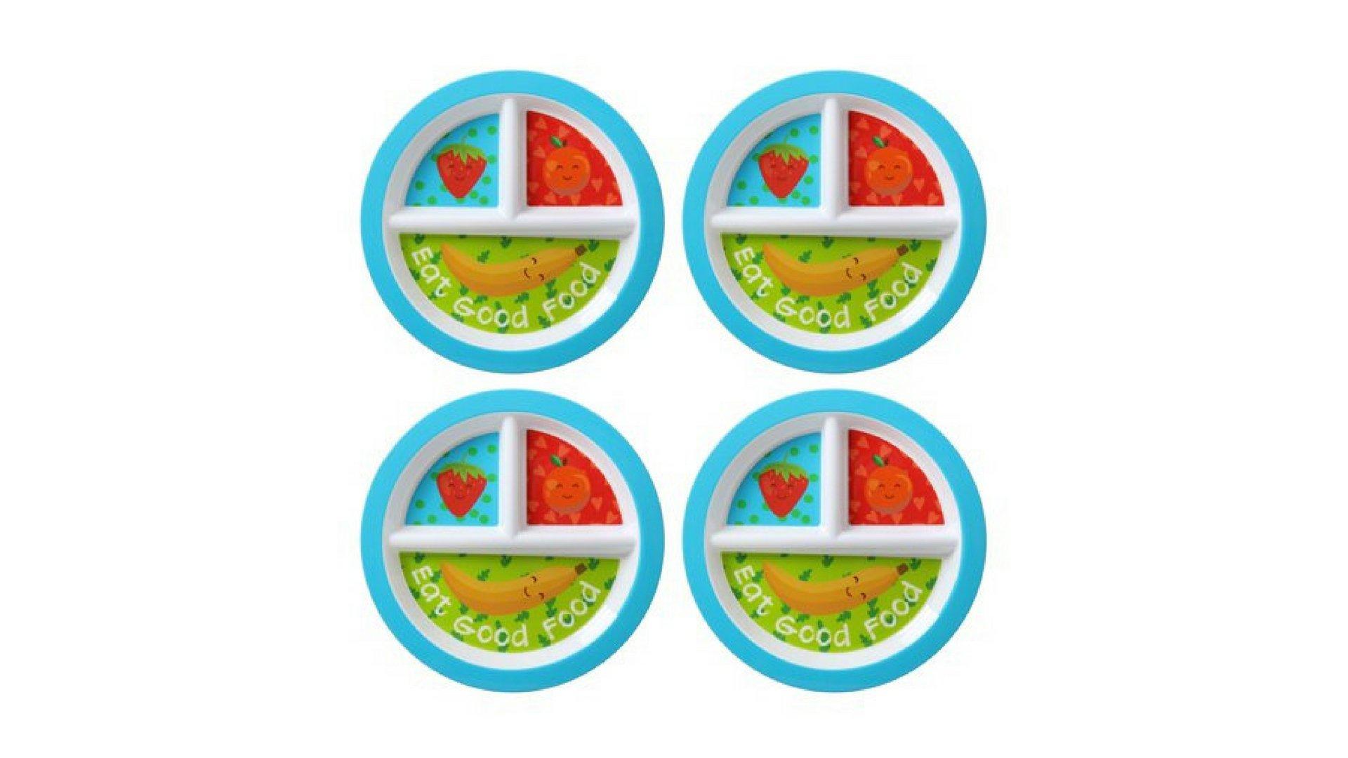 Kids 4-Pack Melamine Round Healthy Snacks Design Divided Plate