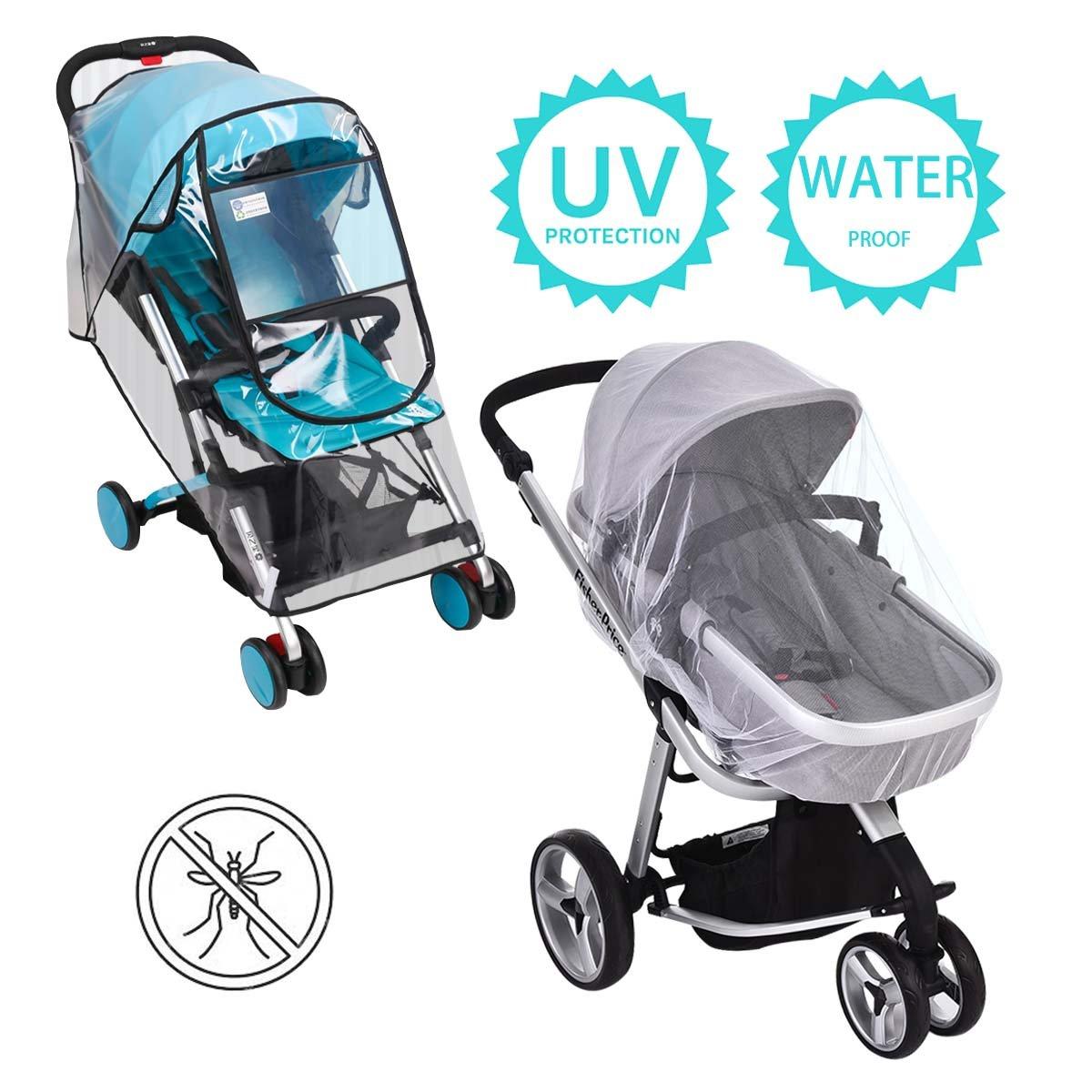Rain Cover for Stroller - Mosquito Net - Hombae Stroller rain Cover - Plastic Stroller Cover Rain - Umbrella Stroller 2 Pack