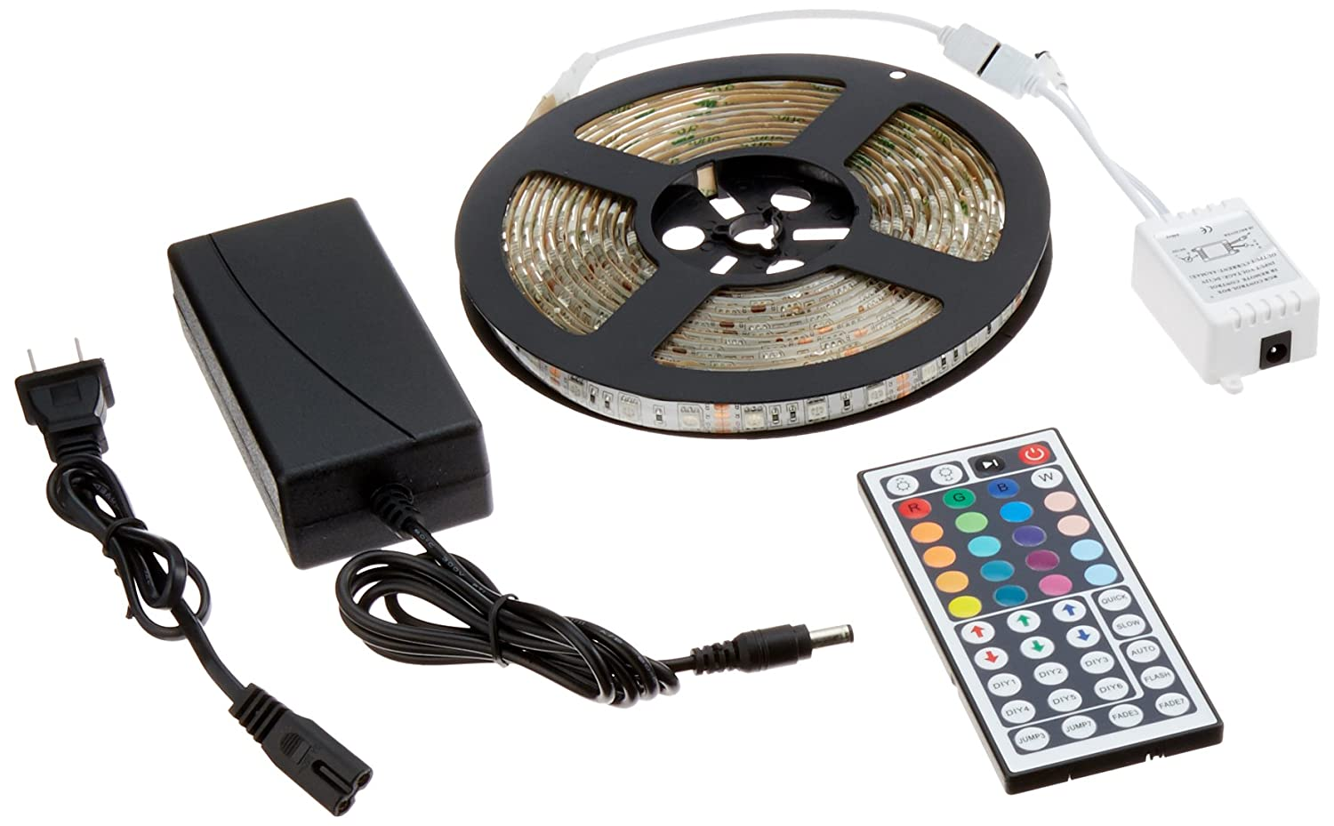 Amazon adx 164ft waterproof flexible strip light kit 300 amazon adx 164ft waterproof flexible strip light kit 300 color changing rgb leds w ir remote controller and 12v5a power supply home improvement aloadofball Choice Image