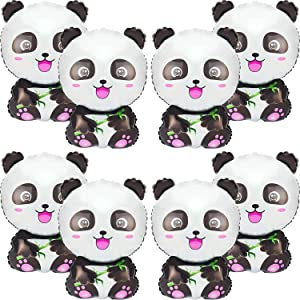 8 Pieces Panda Balloons Cartoon Panda Shaped Foil Balloons Zoo Animal Balloons Panda Party Supplies Happy Birthday Panda Balloons for Kids Jungle Animals Theme Birthday Party Decors