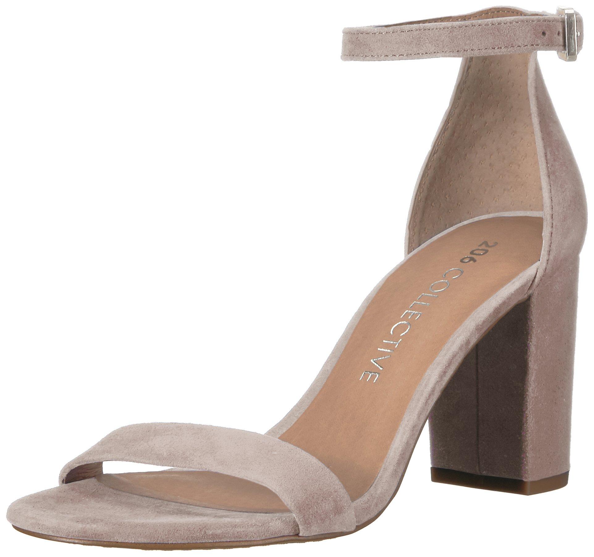 206 Collective Women's Loyal Block Heel Dress High Heeled Sandal, Blush Suede, 7.5 B US
