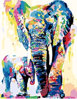 Rzyyd Malen Nach Zahlen Elefanten Familie Bilder Aquarell