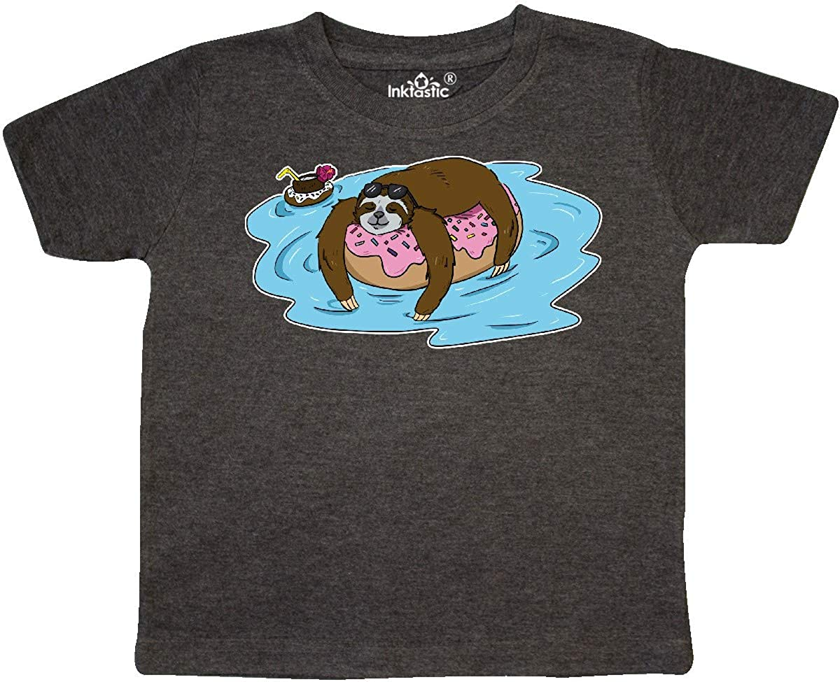 inktastic Donut Float with a Relaxing Sloth Toddler T-Shirt