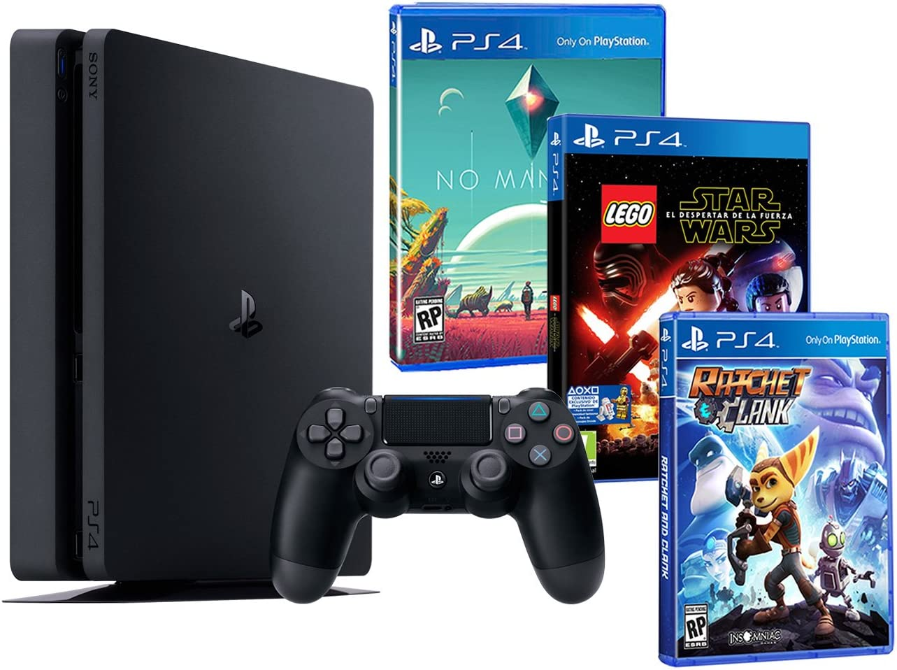 Playstation 4 Consola PS4 Slim 500Gb Pack Infantil 3 Juegos - Lego Star Wars: El Despertar de la Fuerza + No ManS Sky + Ratchet & Clank: Amazon.es: Videojuegos