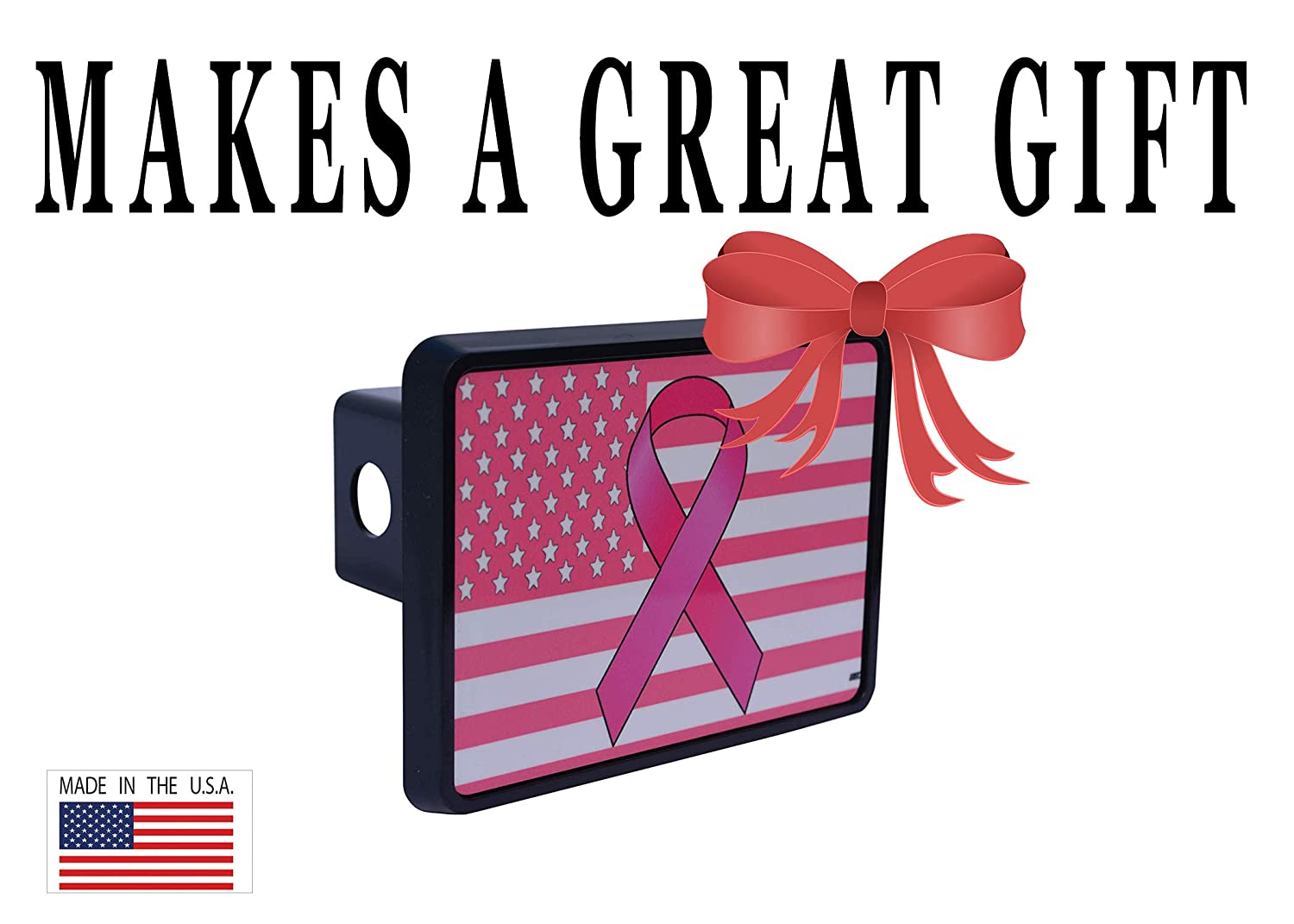 Rogue River Tactical Pink Ribbon USA American Flag Trailer Hitch Cover Plug US Patriotic for Her Women Breast Cancer Awareness VV591