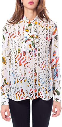 Desigual Camisas de Manga Larga Mujer Medium Blanco: Amazon.es: Ropa y accesorios