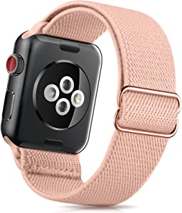ZALAVER Stretchy Solo Loop Band Compatible with Apple Watch Bands 38mm 40mm 42mm 44mm, Nylon Adjustable Braided Sport Elastics Wristband Compatible with iWatch Series 6/5/4/3/2/1 SE Women Pink Sand