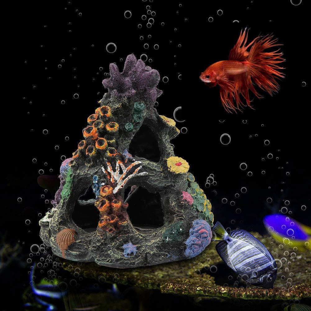 Marine Fish Tank Aquarium Ornament Artificial Resin House Hide Mountain Cave Decor