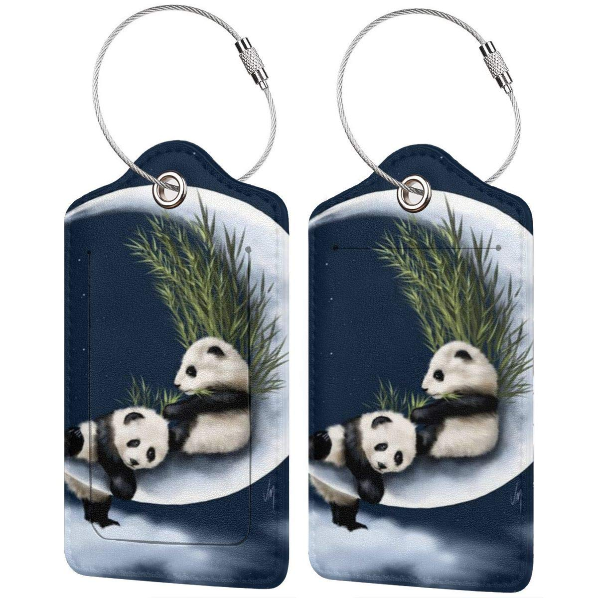 GoldK Funny Lazy Panda Leather Luggage Tags Baggage Bag Instrument Tag Travel Labels Accessories with Privacy Cover