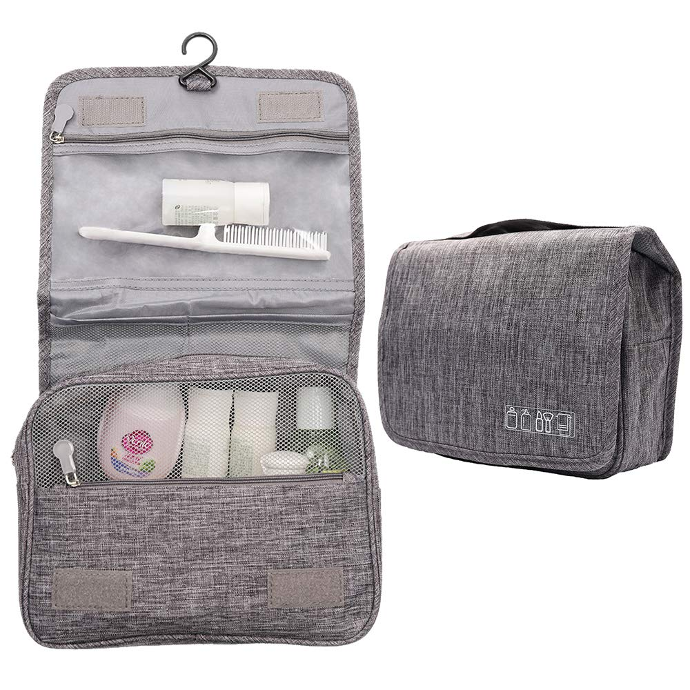 Hanging Toiletry Bag Water Resistant, Travel Wash Bags Cosmetic Bags with 8 Pouches, Bathroom Shower Organizer Portable Durable for Men and Women (Grey)  Price: £10.99