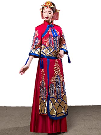 f19b6ced49ed4 Amazon.com: Embroideries Show Wo Dress Chinese Wedding Dress ...