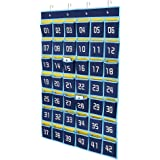 Hipiwe Numbered Classroom Organizer Pocket Chart for Cell Phones Calculator Holders with Hooks (42 Pockets, Blue Pockets)