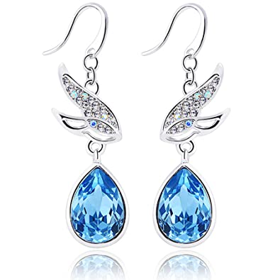Yellow Chimes Crystals from Swarovski Flying Birds Blue Earrings For Women and Girls Earrings at amazon