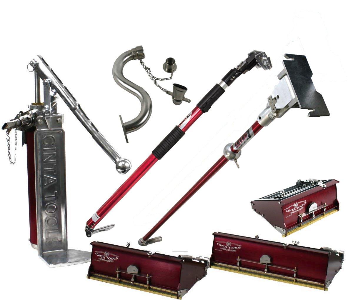 Cinta 7/10/12 Drywall Triple Flat Box Set with Pump, Extender Handle, 42'' Handle, High Reach Box Filler by Cinta
