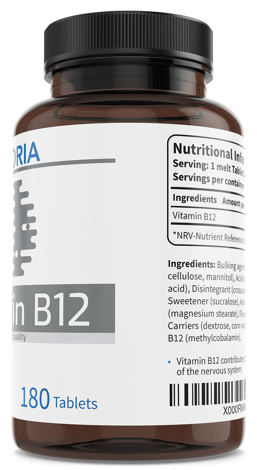 Vitamin B12 1000 mcg 180 Easy Absorption Fast-Dissolving Sublingual Tablets - Natural Energy - Tiredness and Fatigue Reduction - for a Healthy Nervous System and Immune System - Vegan | UK Made