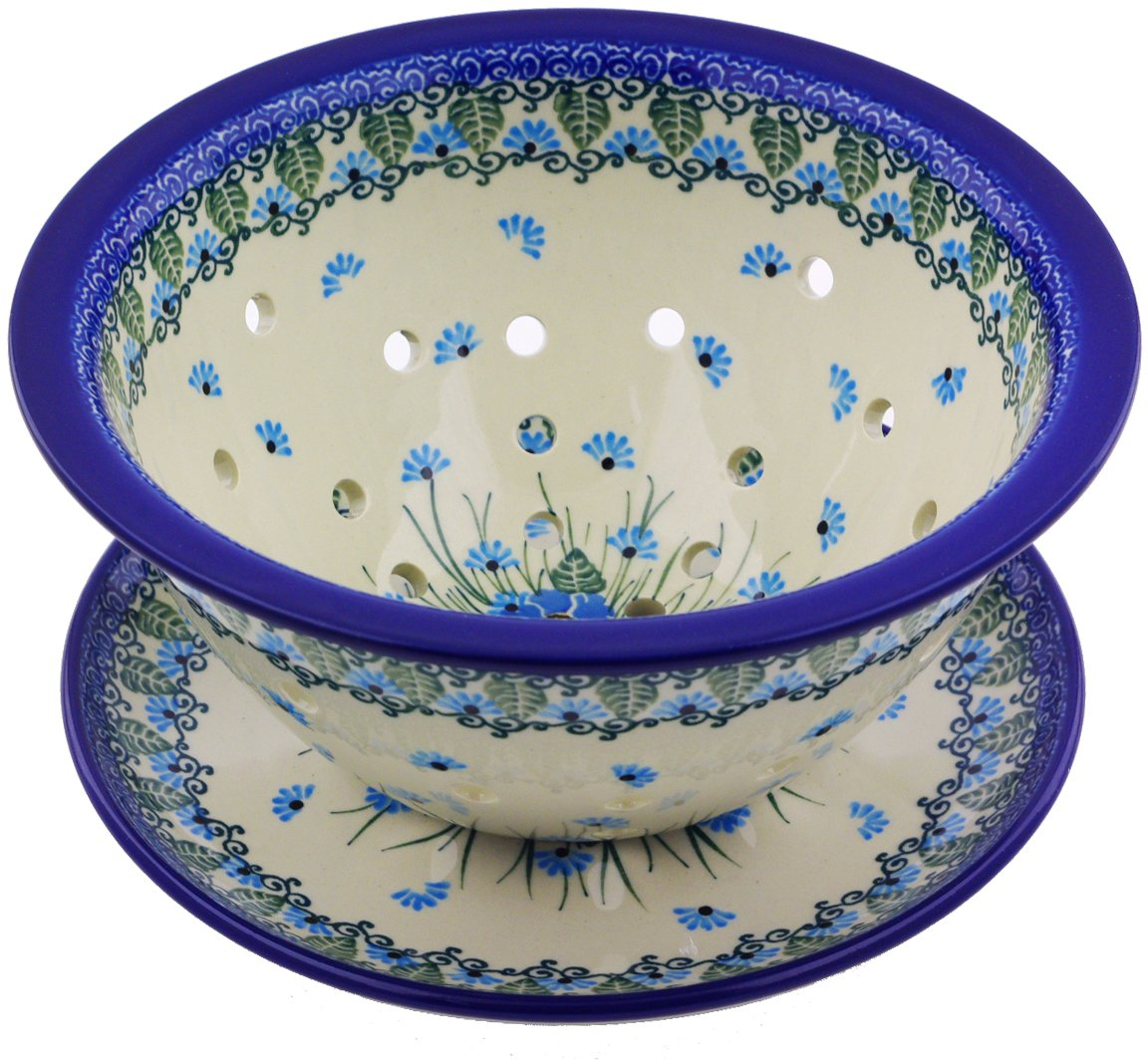 Polish Pottery Colander with Plate 8-inch made by Ceramika Artystyczna (Forget Me Not Theme)