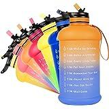 NEEKFOX Water Bottle, 73OZ/0.6 Gallon Motivational Large Water Bottle with Straw & Time Marker, Leakproof BPA Free Big Water