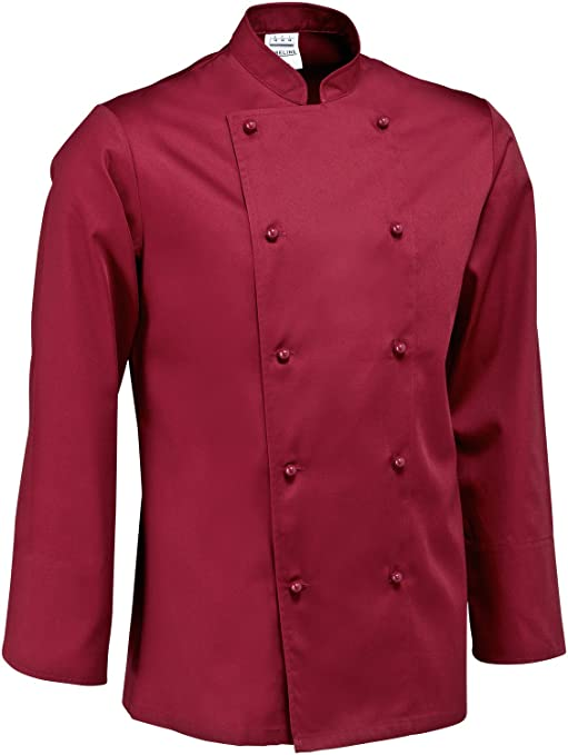 JOBELINE Mens Long Sleeve Chef Jacket (Size 58 - XL, Bordeaux)