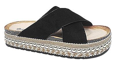 fashionfolie Femme Pantoufles de Plate-Forme Talon Compensés DE 4 cm Plage  D Été 33ae55939063