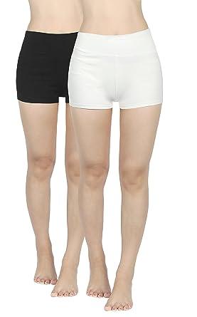 4How Femme Short de Sport Confortable Taille Haute Uni Couleur S à ... 456c02812f9